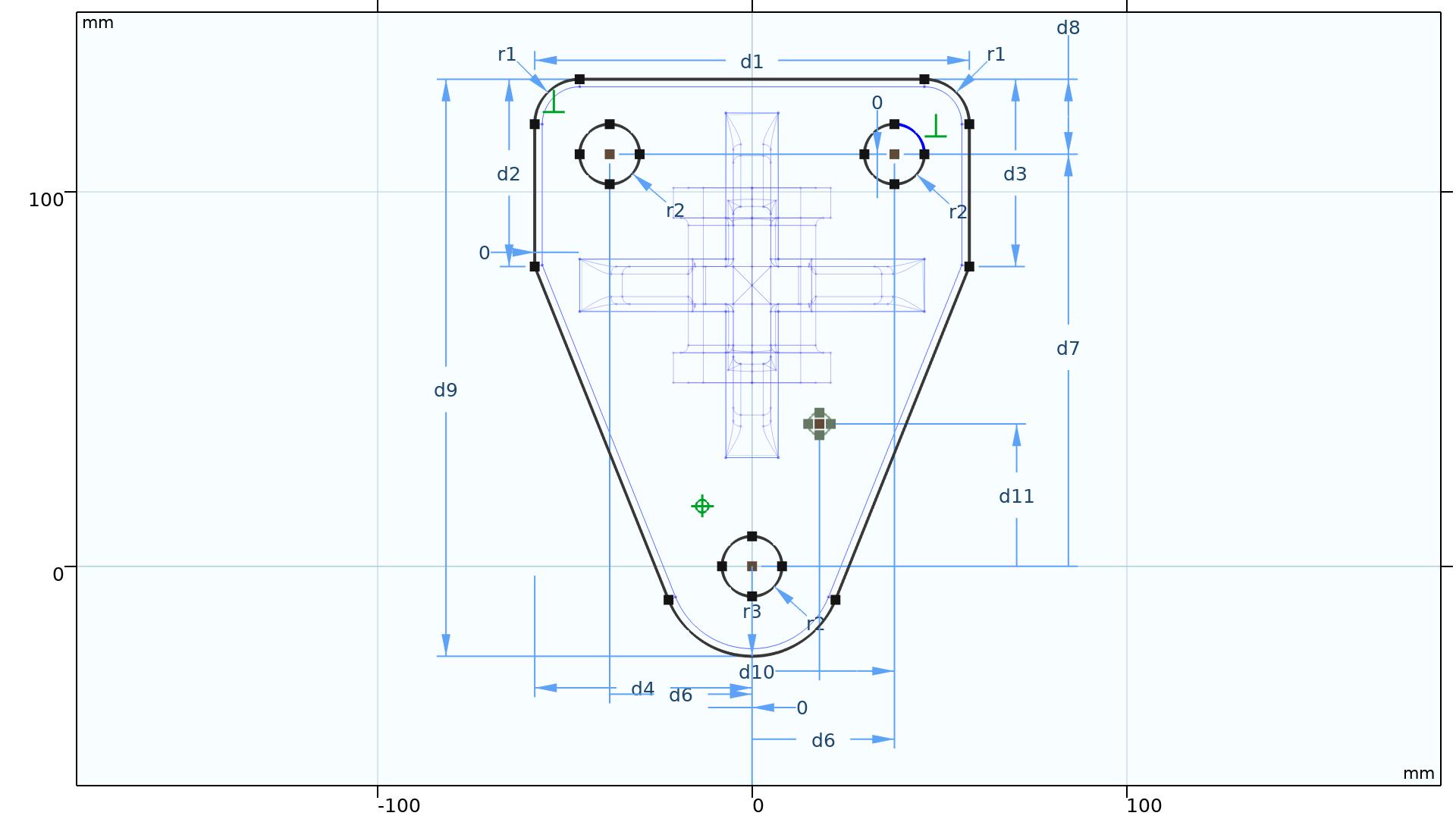 Náčrtek sparametrickými vazbami a rozměry vytvoření vDesign Module COMSOL Multiphysics.
